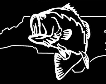 North Carolina Largemouth Bass Fishing state outline window sticker decal