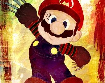 Mario Krueger II nintendo, mario, imprimable, dessin, peinture, décoration, enfant, tableau, illustration, print