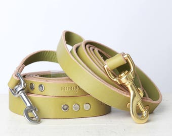 Green Leather Dog Leash -- Classic Style