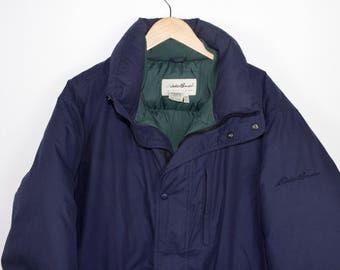 eddie bauer goose down jacket - navy blue - vintage - mens large