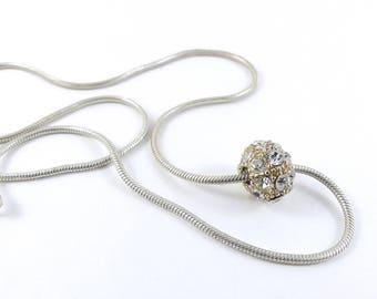 Crystal ball Necklace, ball necklace, silver necklace, crystal necklace, crystal pendant, vintage jewellery, sparkling pendant.