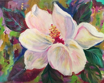 "Magnolia original painting wall 11""x14"" acrylic art canvas gift nola signed painted on all sides wired and ready for hanging"