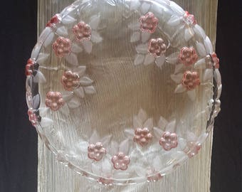 Beautiful Glass Platter with Rose Glass Flowers