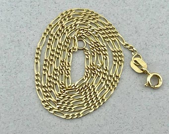 Stunning Solid 14k Yellow Gold Figaro Link Chain Necklace! 18.5 Inches! 1.7 MM!