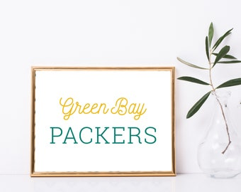 "Green Bay Packers Wisconsin Football Custom Print - 8"" X 10"" Printable Download Wall Art - Full Color"