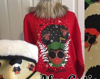 LAST WEEK - RED Afro cutie not so ugly ugly Christmas sweater || Natural Hair || 4c hair || Afro Puffs || melanin Christmas sweater