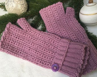 Knit hand warmers, pink knit gloves, Christmas gift for her, winter knitted gloves, wool pink knitted gloves