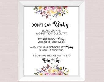 Dont say baby game printable, dont say baby sign, don't say baby boho baby shower game, Floral DIY Baby Shower Game INSTANT DOWNLOAD pdf BL2