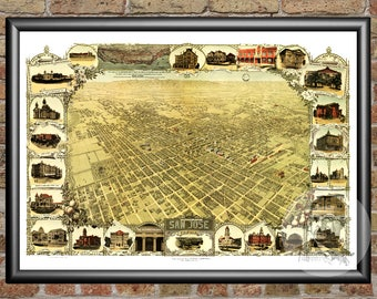 San Jose, California Art Print From 1901 - Digitally Restored Old San Jose, CA Map Poster - Perfect For Fans Of California History