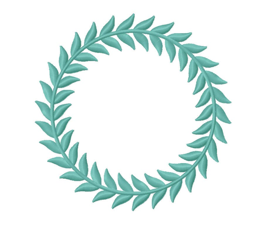 Sizes leaf monogram border embroidery designs