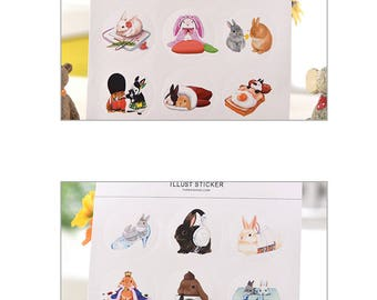 Stickers autocollant/ lovely bunny/2 boards of Stickers
