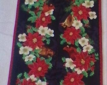 Poinsettia and Cardinals Table Runner