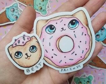 Pink Donut Cat Stickers Best Friends Set