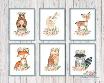Boho Woodland Animals Set / 8x10 Nursery Art / Printable / Floral Watercolor/ Instant Download/ Baby Shower Theme Decor / Bedroom Wall Art