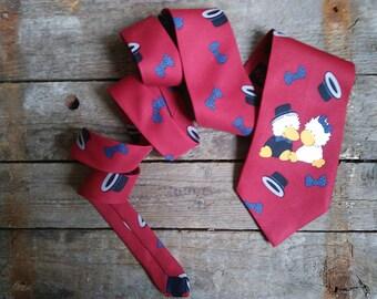 Vintage Neck Tie Red tie vintage Fashion City tie Wedding tie duck in the cylinder two ducks