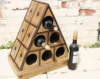 antique wooden wine rack with metal banding and bosses french c1890 wooden - Wooden Wine Rack