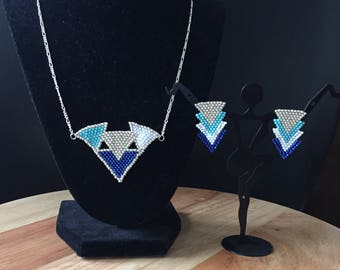 Triangles necklace amd earrings set