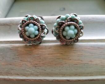 Vintage Silver/Turqouise Screw-Back Earrings