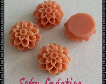 Brown Orange resin flower cabochons