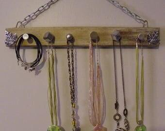 Accroche bijoux mural en bois rangement colliers bracelets foulards rangement chambre porte torchons serviettes