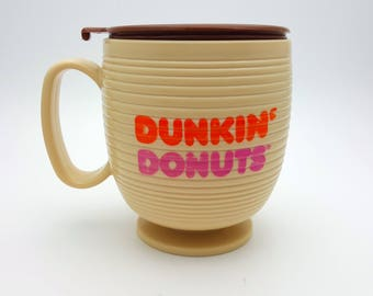 Very Rare Vintage 80's Dunkin Donuts Travel Mug made in USA French Canadian Le Super Caf! Hot Beverages Tea Coffee Cup