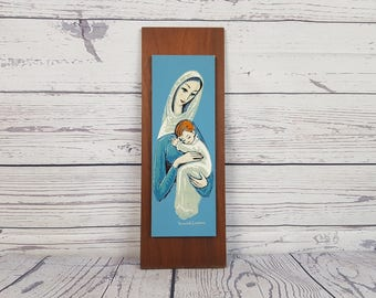 Vintage Virgin Mary & Baby Jesus Mother Child Frame Painting on Wood Block Wall Art Religious Gift Catholic Christian Baptism Confirmation