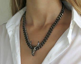 Bull Skull Necklace, Black Chain Necklace, Black Skull Buffalo, Bull Head Horn Pendant, Black Curb Chain Necklace, Skull Jewelry