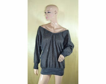 Vintage women top blouse dark gray wool and mohair Made in Italy