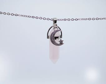 Rose Quartz Stainless Steal Chain Crystal Healing Point Necklace Adjustable Lobster Claw Closure Natural Stone Moon and Star Pendant