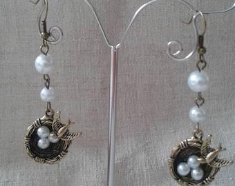 """Earrings """"pretty birds nest"""""""