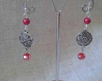 """Earrings """"marriage of the silver and Red"""""""