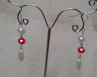 """Earrings """"red and white harmony"""""""