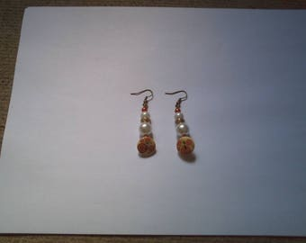 Pearl and floral button earrings