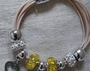 "Bracelet ""cords and beads pandoras yellow and white"""