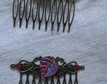 set of 2 Combs bronze and leaf red rhinestones