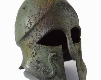 Bronze Helmet with carvings ancient Greek half size reproduction artifact