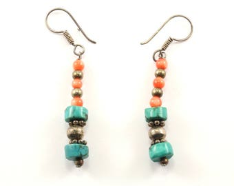 Vintage Torquoise Drop Earrings 925 Sterling Silver ER 897