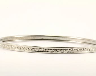 Vintage Textured Bangle Bracelet Sterling Silver BR 1756