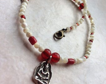 Ethnic necklace OOAK Buddha beads