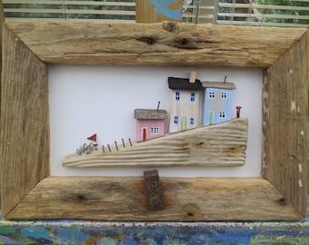 Three Cottages on Slipway - Framed.