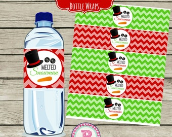 INSTANT Christmas Melted Snowman Drink Wraps Water Bottle Labels Red Green Chevron School Party Birthday Party Winter
