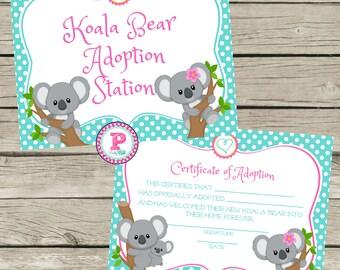 Koala Bear Adoption Certificate Adopt a Pet Birthday Party Ideas Polka Dot Adoption Station Stuffed Animal Pet Shop Zoo Koalas