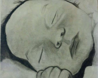 Charcoal baby portrait *made to order*