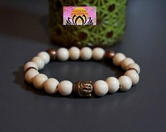 Wood Copper Buddha Head Bracelet-Beaded Stretchy Bracelet-Wrist Mala-Yoga Bracelet-Boho Chic Elegant Jewellery-Stacking Layering-Gift Her