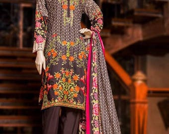 Sold!!! Bin Saeed Lawn Three piece suit embroidered suit w/lawn duppata medium size