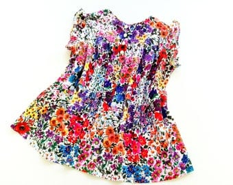 70s tunic blouse size XXS xs vinTage blouse retro flowers 70s doll shirt