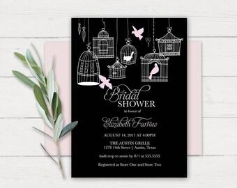 Bridal Shower Invitation Template Blush Birdcage Wedding Shower Invitations Rustic Birdcages Digital Printable Printed Bridal Shower invite