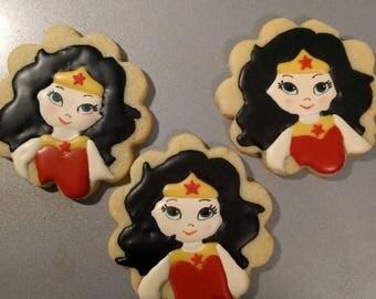 Wonder Woman/Girl Cookies - 1 Dozen
