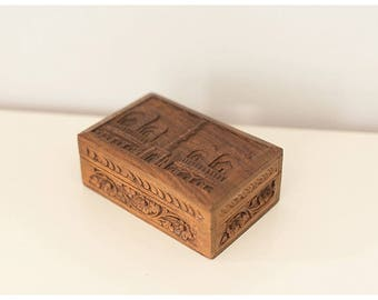 Vintage Wooden Jewelry Box   Hand Carved Wooden Jewelry Box