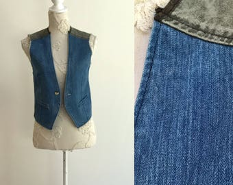 Vest Denim Vest Blue Gray Denim Crop Vest Cropped Waistcoat Country Western Boho Sleeveless Two Color Denim Jacket Small Size Unisex Vest